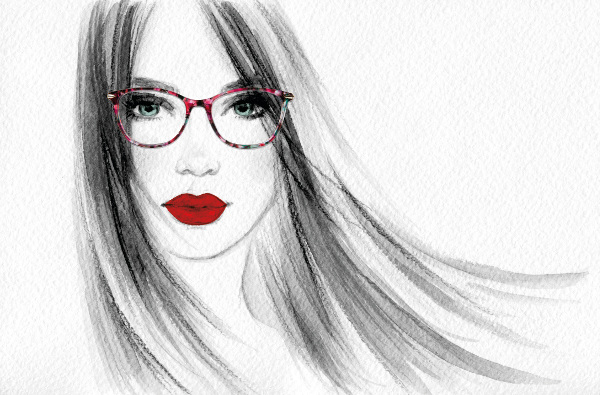 Drawing of a lady wearing Paul Costello glasses