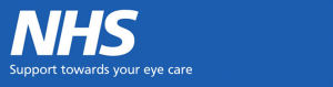 a blue banner with the text NHS Support towards your eye care